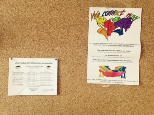 We Connect Now Disability Rights campaign poster displayed on a bulletin board on campus at Universidad Metropolitana en Bayamón in Bayamón, Puerto Rico