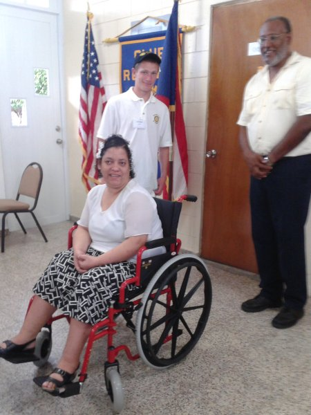 Wheelchair given to a young woman in Caguas, Puerto Rico