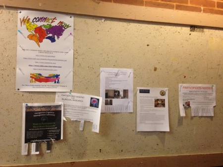Photo of We Connect Now Disability Rights Campaign poster displayed on bulletin board at Georgetown University campus in Washington, DC