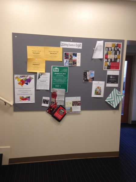 Photo of We Connect Now Disability Rights Campaign poster displayed on a bulletin board at the Marymount University campus in Arlington, Virginia.