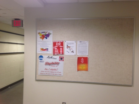 Photo of We Connect Now Disability Rights Campaign poster displayed on bulletin board at the MIT campus in Cambridge, Massachusetts