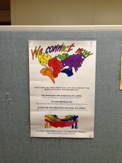 We Connect Now Disability Rights Campaign poster displayed on a bulletin board at Literacy Kansas City in Kansas City, Missouri