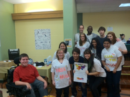 Photo of Students from Raritan Valley Community College with WCN Disability Rights Campaign poster