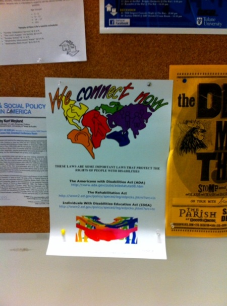 Photo of WCN Disability Rights Campaign poster displayed at Tulane University
