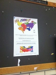 WCN Disability Rights Campaign Law Poster displayed at the University of Arkansas