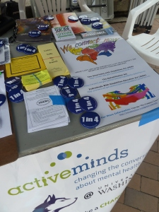 We Connect Now Disability Rights Poster on U of W Active Minds table