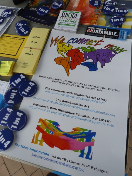 WCN Disability Rights Campaign Poster on Active Minds Table