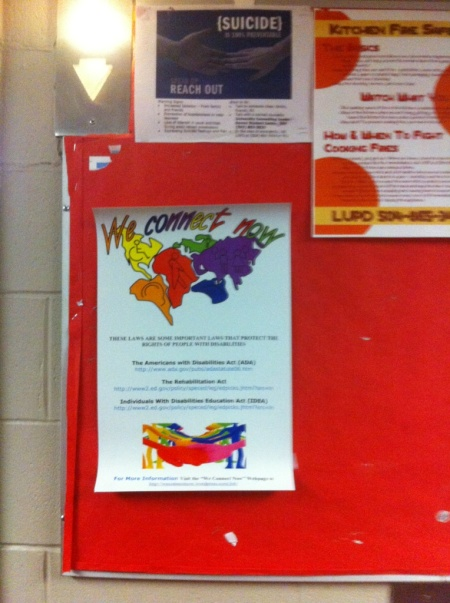 We Connect Now Disability Rights Campaign Poster at Loyola University in New Orleans