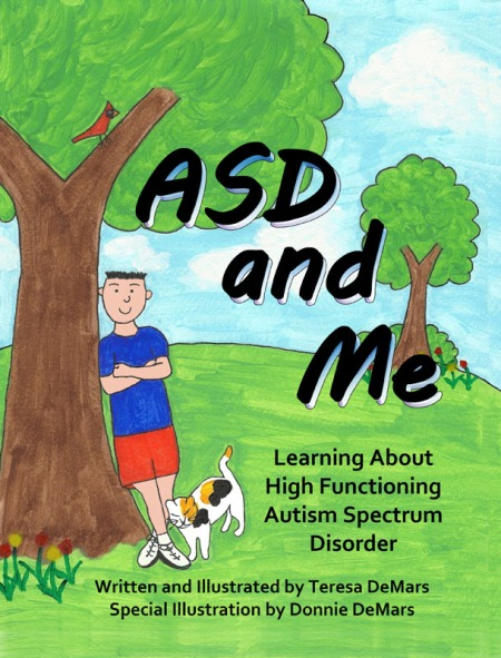 ASD and Me Book drawn cover image with young boy leaning against a tree
