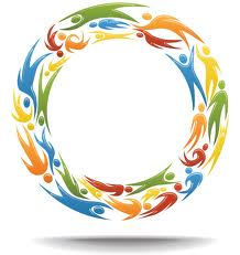 Symbol for continuity consisting of intertwined colored images traveling counterclockwise in a circle